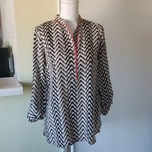 Uniq Long Sleeve Komono Neck Black & White Blouse